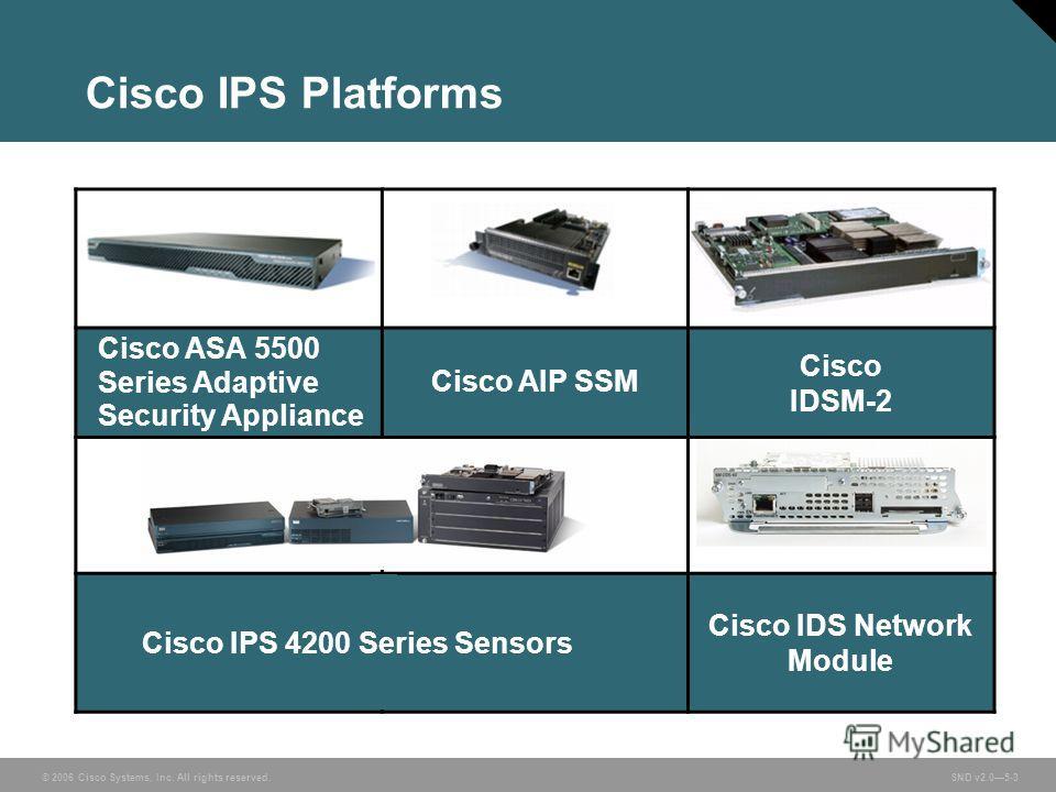 © 2006 Cisco Systems, Inc. All rights reserved. SND v2.05-3 Cisco IPS Platforms Cisco ASA 5500 Series Adaptive Security Appliance Cisco AIP SSM Cisco IDSM-2 Cisco IDS Network Module Cisco IPS 4200 Series Sensors