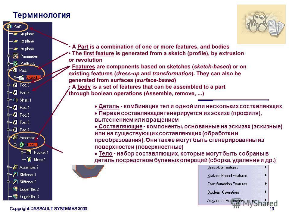 Терминология Деталь - комбинация тел и одной или нескольких составляющих Первая составляющая генерируется из эскиза (профиля), вытеснением или вращением Составляющие - компоненты, основанные на эскизах (эскизные) или на существующих составляющих (обр