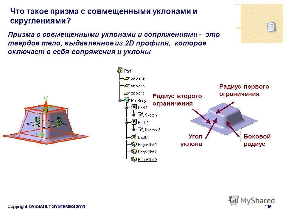 Что такое призма с совмещенными уклонами и скруглениями? Угол уклона Призма с совмещенными уклонами и сопряжениями - это твердое тело, выдавленное из 2D профиля, которое включает в себя сопряжения и уклоны Радиус второго ограничения Боковой радиус Ра