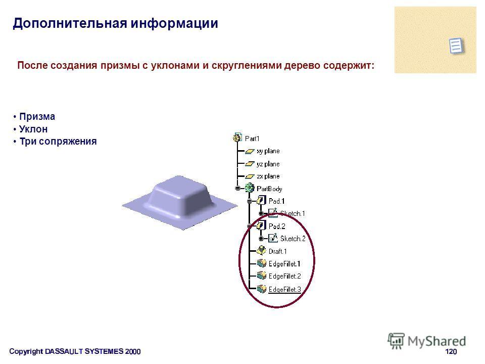 Дополнительная информации После создания призмы с уклонами и скруглениями дерево содержит: Призма Уклон Три сопряжения