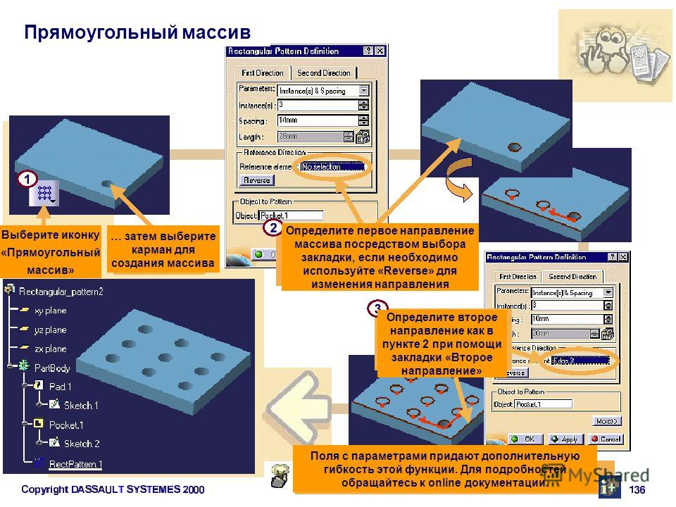 Прямоугольный массив Выберите иконку «Прямоугольный массив» Поля с параметрами придают дополнительную гибкость этой функции. Для подробностей обращайтесь к online документации. Определите первое направление массива посредством выбора закладки, если н