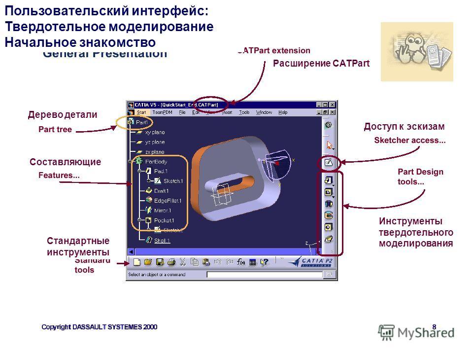 Стандартные инструменты Пользовательский интерфейс: Твердотельное моделирование Начальное знакомство Инструменты твердотельного моделирования Составляющие Дерево детали Расширение CATPart Доступ к эскизам