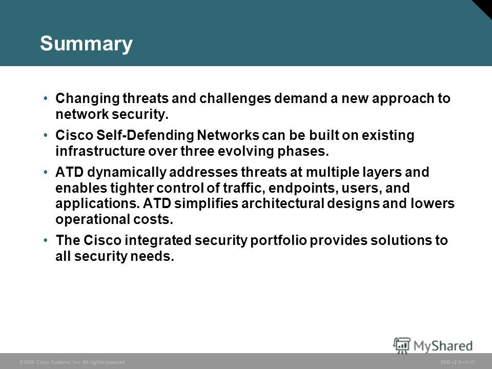 © 2006 Cisco Systems, Inc. All rights reserved. SND v2.01-13 Summary Changing threats and challenges demand a new approach to network security. Cisco Self-Defending Networks can be built on existing infrastructure over three evolving phases. ATD dyna