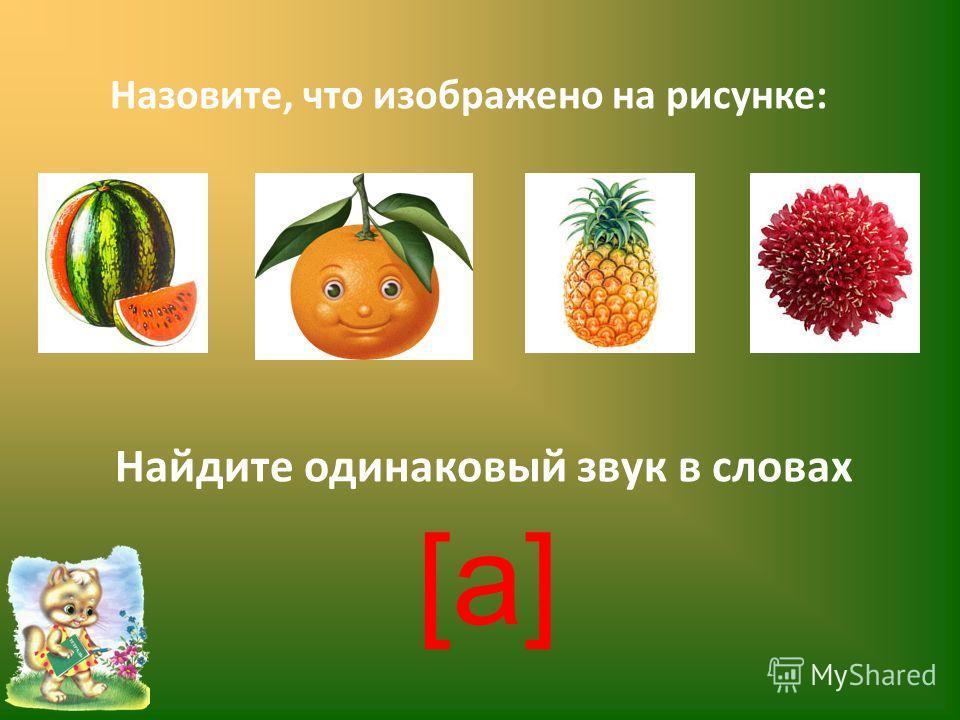 Назовите, что изображено на рисунке: Найдите одинаковый звук в словах [а][а]