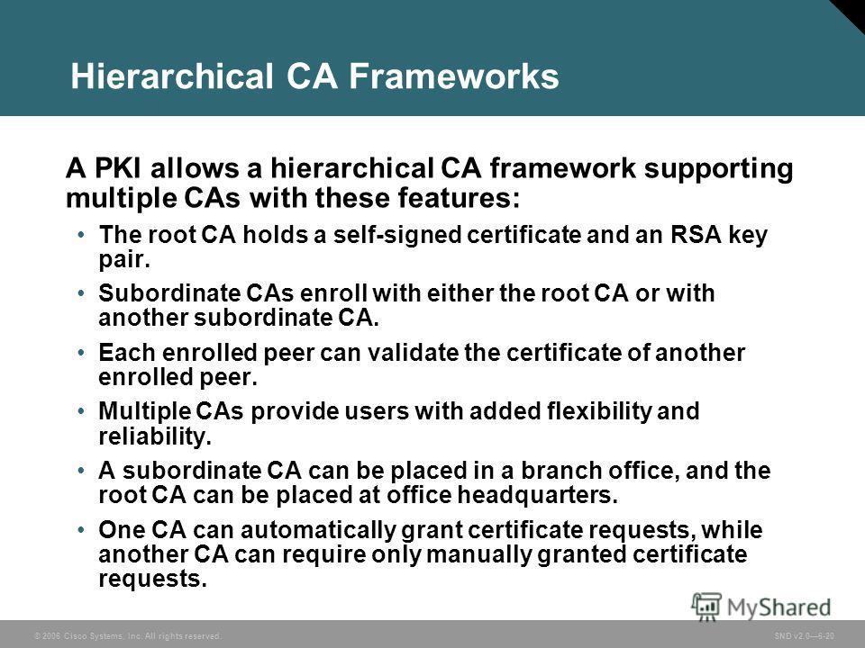 © 2006 Cisco Systems, Inc. All rights reserved. SND v2.06-20 Hierarchical CA Frameworks A PKI allows a hierarchical CA framework supporting multiple CAs with these features: The root CA holds a self-signed certificate and an RSA key pair. Subordinate