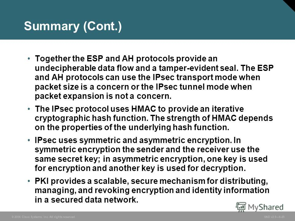 © 2006 Cisco Systems, Inc. All rights reserved. SND v2.06-25 Summary (Cont.) Together the ESP and AH protocols provide an undecipherable data flow and a tamper-evident seal. The ESP and AH protocols can use the IPsec transport mode when packet size i