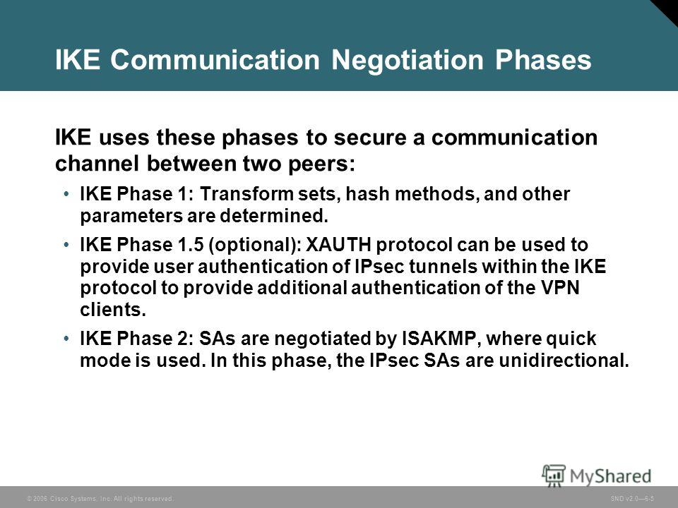 © 2006 Cisco Systems, Inc. All rights reserved. SND v2.06-5 IKE Communication Negotiation Phases IKE uses these phases to secure a communication channel between two peers: IKE Phase 1: Transform sets, hash methods, and other parameters are determined