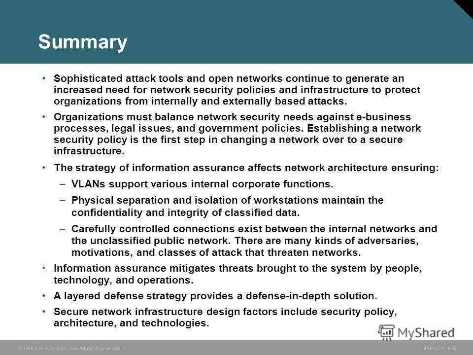 © 2006 Cisco Systems, Inc. All rights reserved. SND v2.01-25 Summary Sophisticated attack tools and open networks continue to generate an increased need for network security policies and infrastructure to protect organizations from internally and ext