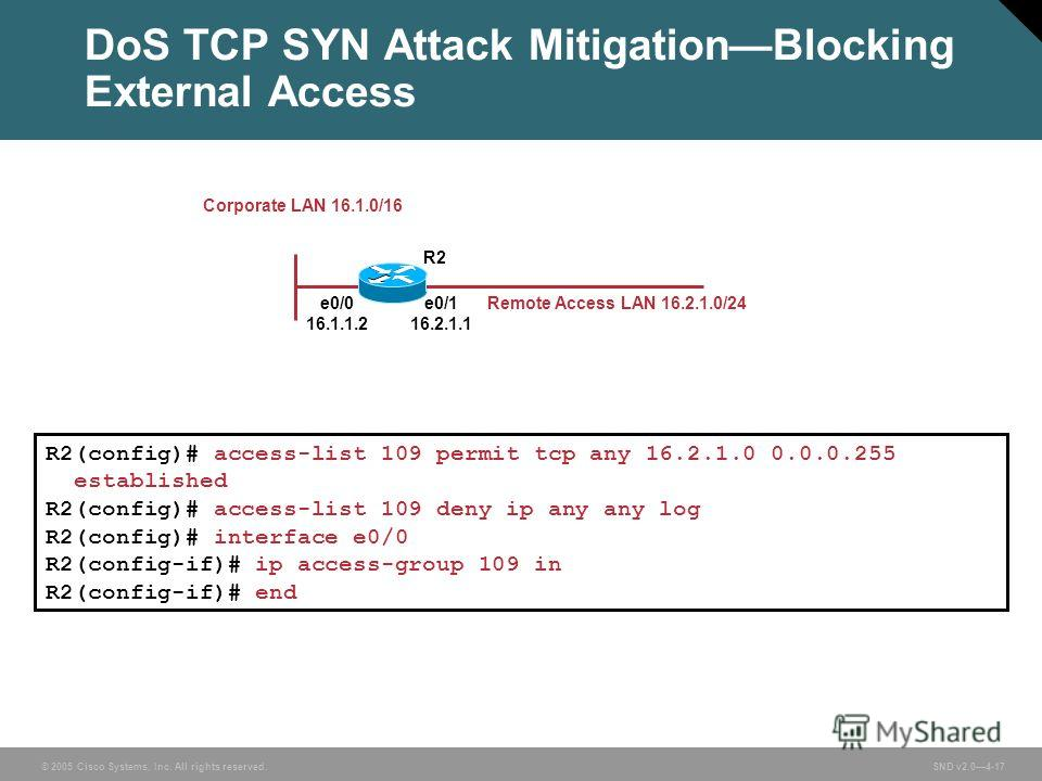 © 2005 Cisco Systems, Inc. All rights reserved. SND v2.04-17 DoS TCP SYN Attack MitigationBlocking External Access e0/0 16.1.1.2 e0/1 16.2.1.1 R2 Remote Access LAN 16.2.1.0/24 R2(config)# access-list 109 permit tcp any 16.2.1.0 0.0.0.255 established