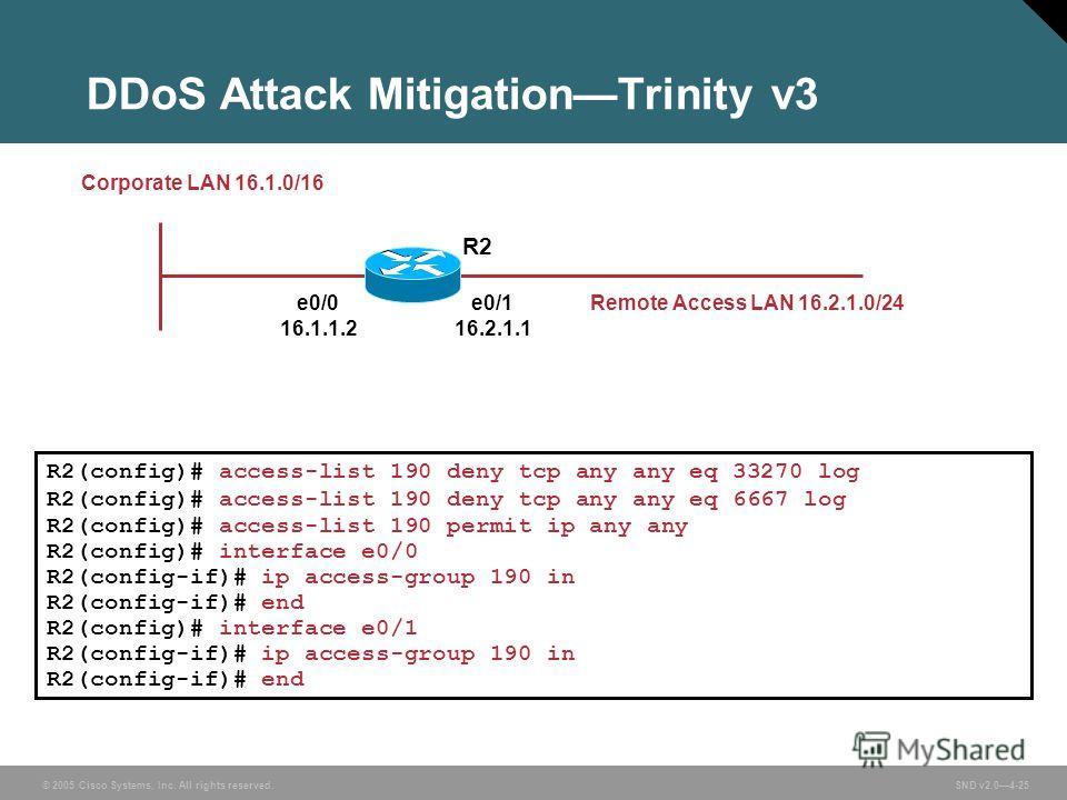 © 2005 Cisco Systems, Inc. All rights reserved. SND v2.04-25 DDoS Attack MitigationTrinity v3 R2(config)# access-list 190 deny tcp any any eq 33270 log R2(config)# access-list 190 deny tcp any any eq 6667 log R2(config)# access-list 190 permit ip any