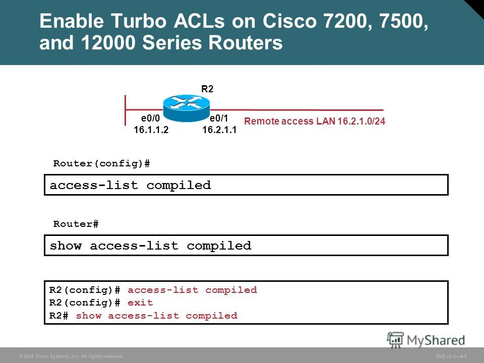 © 2005 Cisco Systems, Inc. All rights reserved. SND v2.04-6 Enable Turbo ACLs on Cisco 7200, 7500, and 12000 Series Routers R2(config)# access-list compiled R2(config)# exit R2# show access-list compiled Router(config)# access-list compiled Router# s