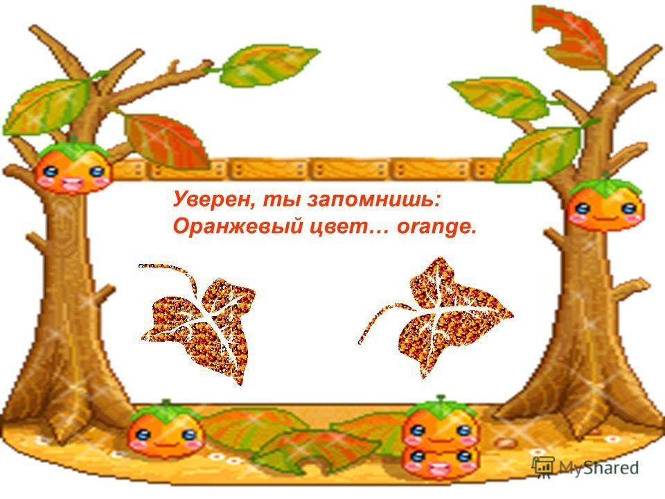 Уверен, ты запомнишь: Оранжевый цвет… orange.