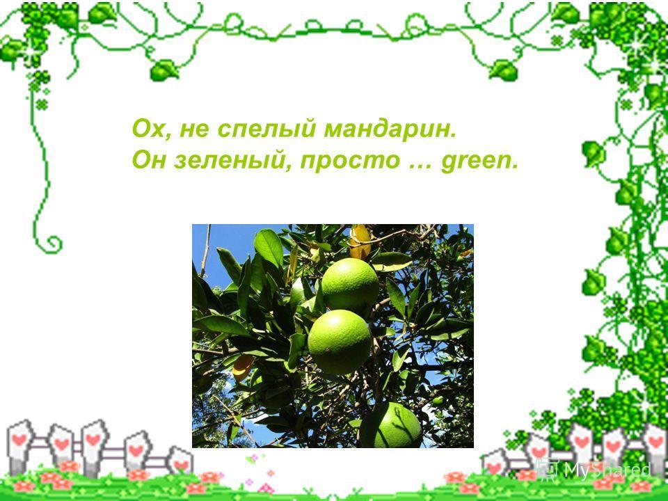 Ох, не спелый мандарин. Он зеленый, просто … green.