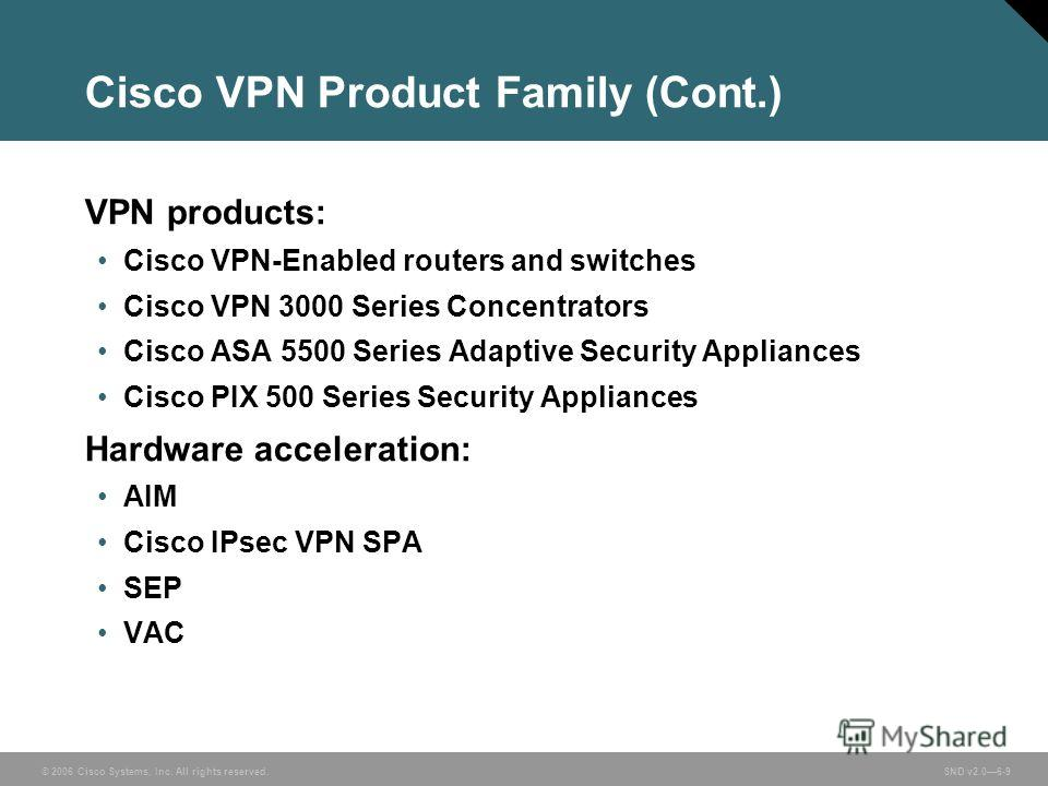 © 2006 Cisco Systems, Inc. All rights reserved. SND v2.06-9 Cisco VPN Product Family (Cont.) VPN products: Cisco VPN-Enabled routers and switches Cisco VPN 3000 Series Concentrators Cisco ASA 5500 Series Adaptive Security Appliances Cisco PIX 500 Ser