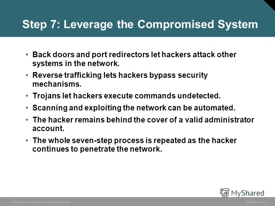 © 2006 Cisco Systems, Inc. All rights reserved. SND v2.01-12 Step 7: Leverage the Compromised System Back doors and port redirectors let hackers attack other systems in the network. Reverse trafficking lets hackers bypass security mechanisms. Trojans
