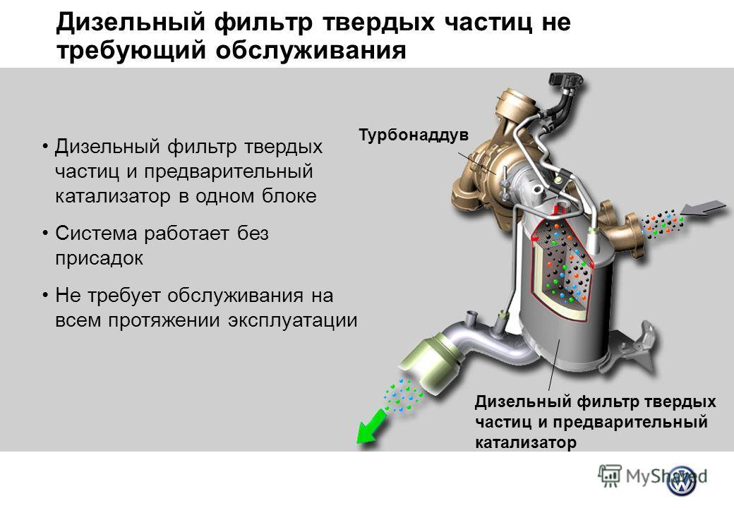 Дизельный фильтр твердых частиц не требующий обслуживания Турбонаддув Дизельный фильтр твердых частиц и предварительный катализатор Дизельный фильтр твердых частиц и предварительный катализатор в одном блоке Система работает без присадок Не требует о