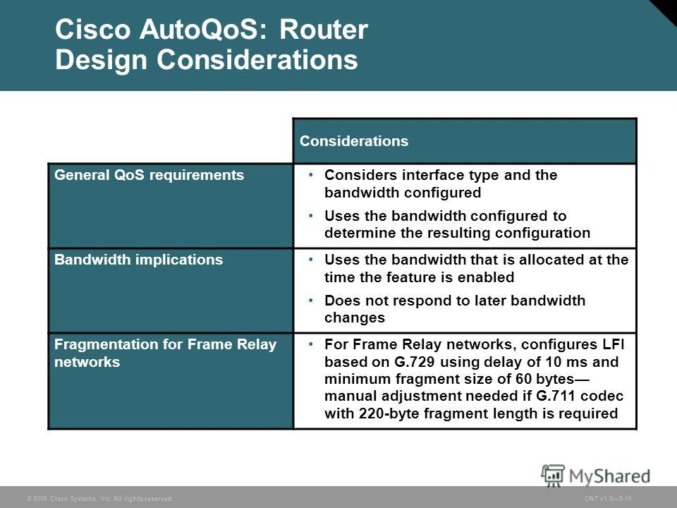 © 2006 Cisco Systems, Inc. All rights reserved.ONT v1.05-10 Cisco AutoQoS: Router Design Considerations Considerations General QoS requirementsConsiders interface type and the bandwidth configured Uses the bandwidth configured to determine the result