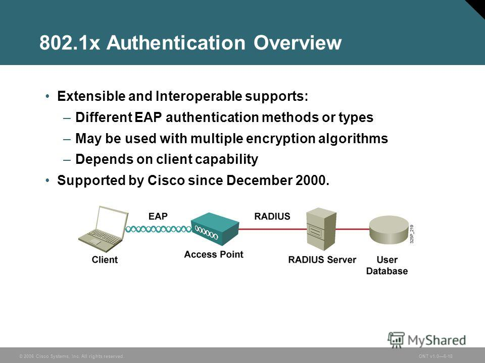 © 2006 Cisco Systems, Inc. All rights reserved.ONT v1.06-18 802.1x Authentication Overview Extensible and Interoperable supports: –Different EAP authentication methods or types –May be used with multiple encryption algorithms –Depends on client capab