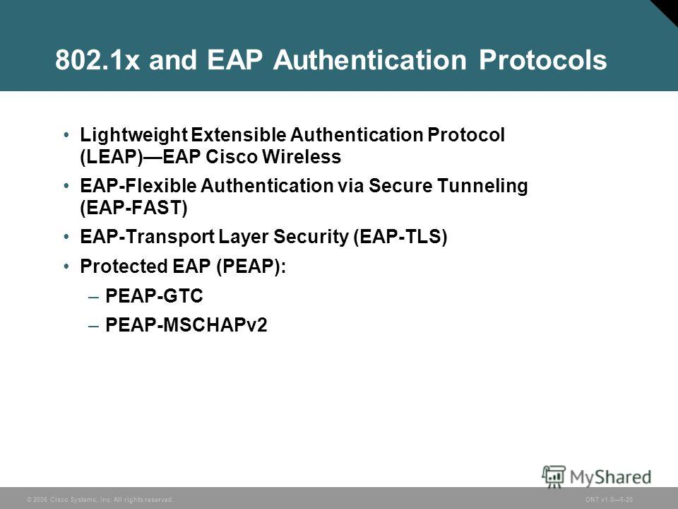 © 2006 Cisco Systems, Inc. All rights reserved.ONT v1.06-20 802.1x and EAP Authentication Protocols Lightweight Extensible Authentication Protocol (LEAP)EAP Cisco Wireless EAP-Flexible Authentication via Secure Tunneling (EAP-FAST) EAP-Transport Laye