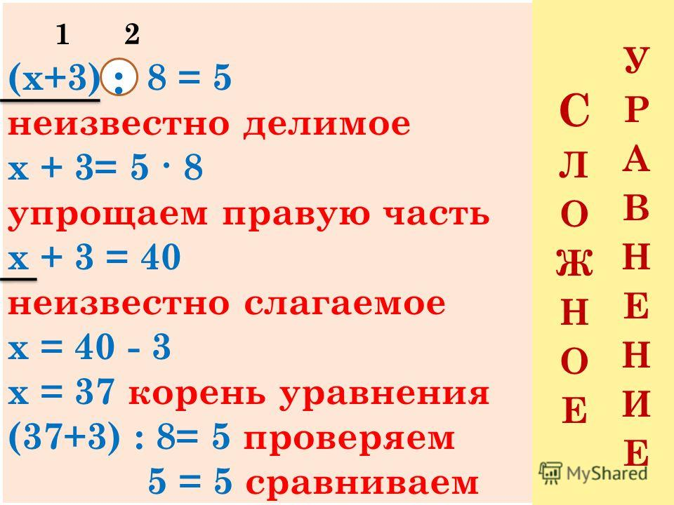 Читаю уравнение Называю неизвестный компонент Объясняю, как найти неизвестный компонент Нахожу корень уравнения Сравниваю левую и правую части уравнения Делаю вывод Делаю проверку