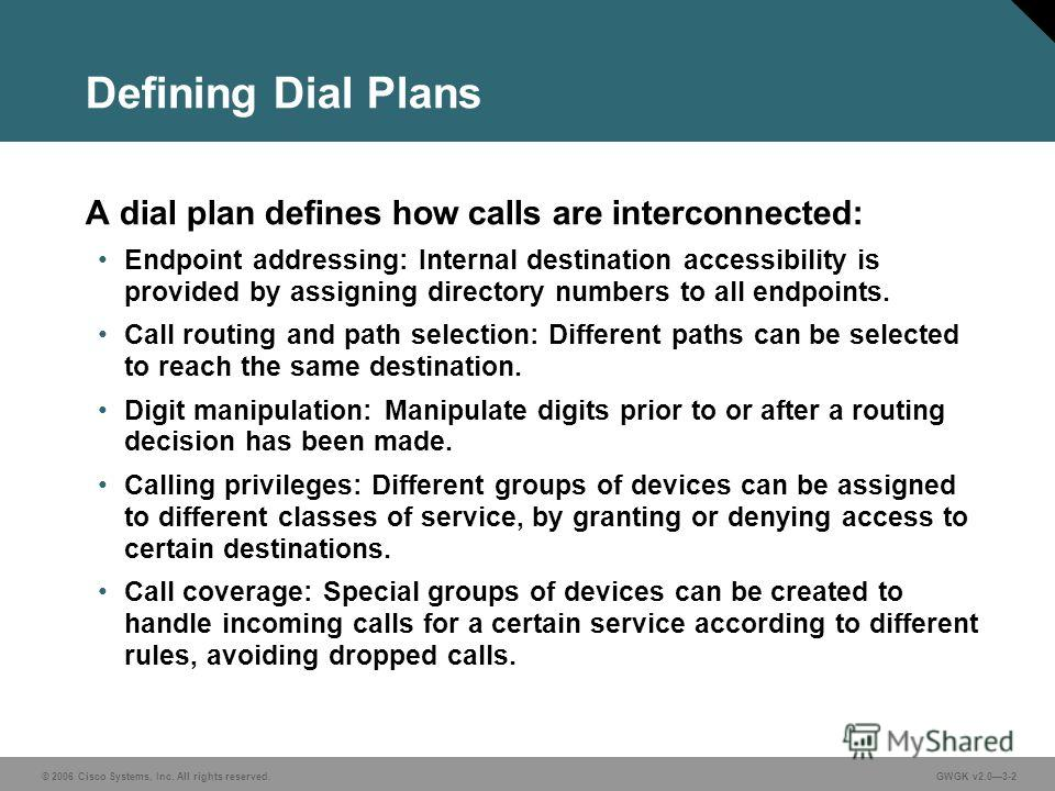 © 2006 Cisco Systems, Inc. All rights reserved.GWGK v2.03-2 Defining Dial Plans A dial plan defines how calls are interconnected: Endpoint addressing: Internal destination accessibility is provided by assigning directory numbers to all endpoints. Cal