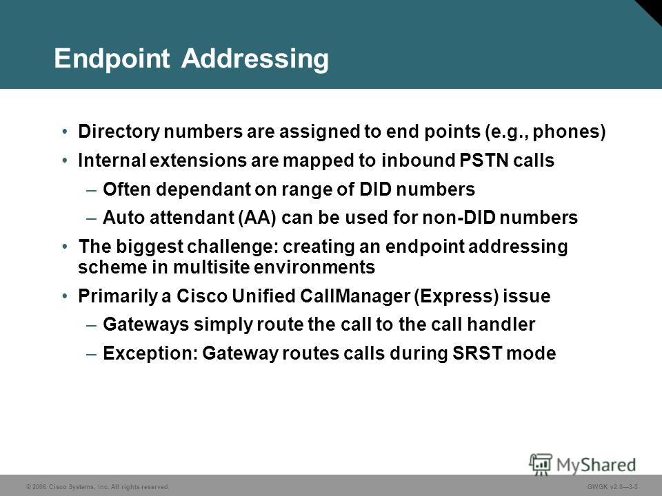 © 2006 Cisco Systems, Inc. All rights reserved.GWGK v2.03-5 Endpoint Addressing Directory numbers are assigned to end points (e.g., phones) Internal extensions are mapped to inbound PSTN calls –Often dependant on range of DID numbers –Auto attendant
