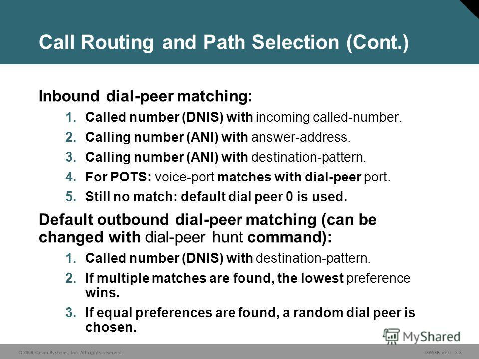 © 2006 Cisco Systems, Inc. All rights reserved.GWGK v2.03-8 Call Routing and Path Selection (Cont.) Inbound dial-peer matching: 1. Called number (DNIS) with incoming called-number. 2. Calling number (ANI) with answer-address. 3. Calling number (ANI)