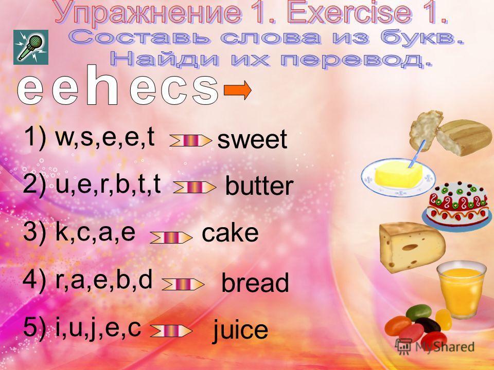 1) w,s,e,e,t 2) u,e,r,b,t,t 3) k,c,a,e 4) r,a,e,b,d 5) i,u,j,e,c sweet butter cake bread juice