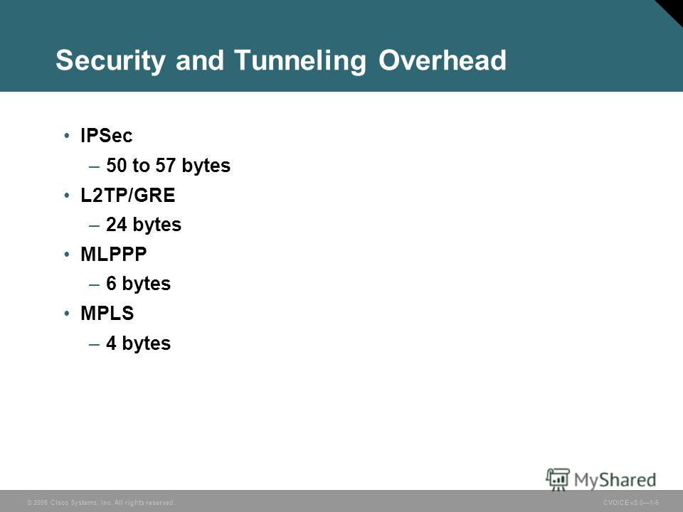 © 2006 Cisco Systems, Inc. All rights reserved. CVOICE v5.01-6 Security and Tunneling Overhead IPSec –50 to 57 bytes L2TP/GRE –24 bytes MLPPP –6 bytes MPLS –4 bytes