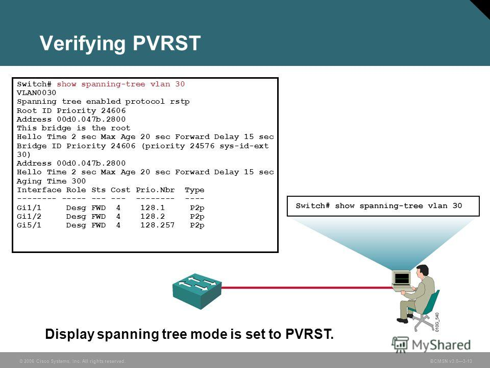 © 2006 Cisco Systems, Inc. All rights reserved.BCMSN v3.03-13 Verifying PVRST Display spanning tree mode is set to PVRST. Switch# show spanning-tree vlan 30 VLAN0030 Spanning tree enabled protocol rstp Root ID Priority 24606 Address 00d0.047b.2800 Th