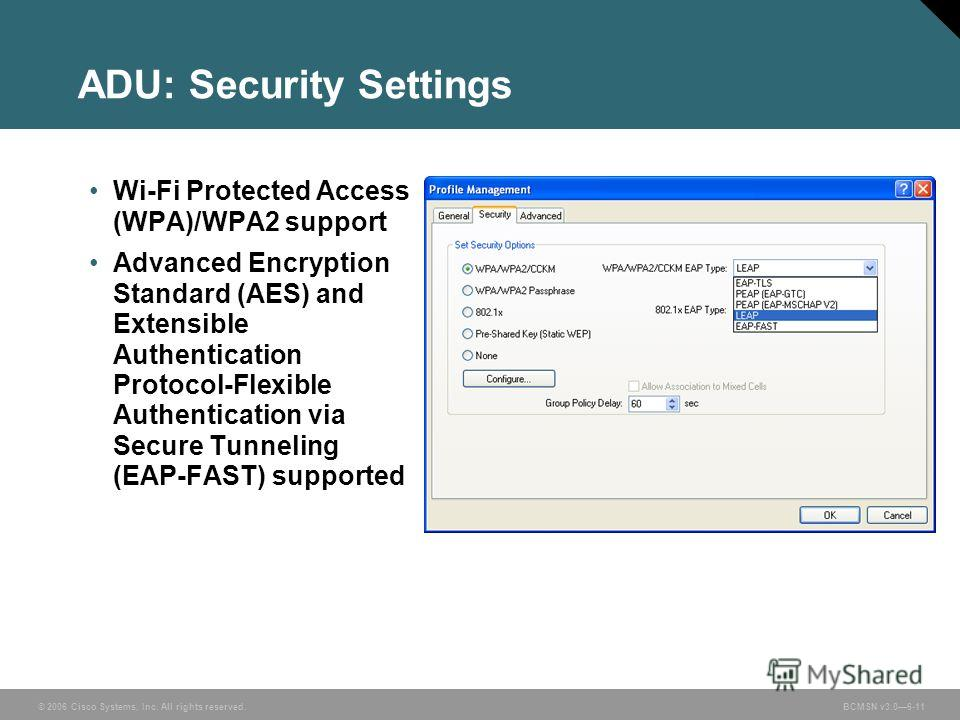 © 2006 Cisco Systems, Inc. All rights reserved. BCMSN v3.06-11 ADU: Security Settings Wi-Fi Protected Access (WPA)/WPA2 support Advanced Encryption Standard (AES) and Extensible Authentication Protocol-Flexible Authentication via Secure Tunneling (EA
