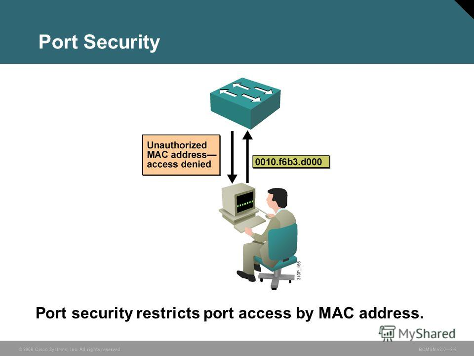 © 2006 Cisco Systems, Inc. All rights reserved. BCMSN v3.08-6 Port Security Port security restricts port access by MAC address.