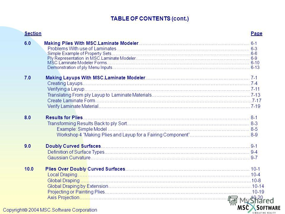 Copyright ® 2000 MSC.Software Copyright 2004 MSC.Software Corporation TABLE OF CONTENTS (cont.) SectionPage 6.0 Making Plies With MSC.Laminate Modeler ………………………………………………………………….6-1 Problems With use of Laminates …………..…………………………………………………………………..6-3 S
