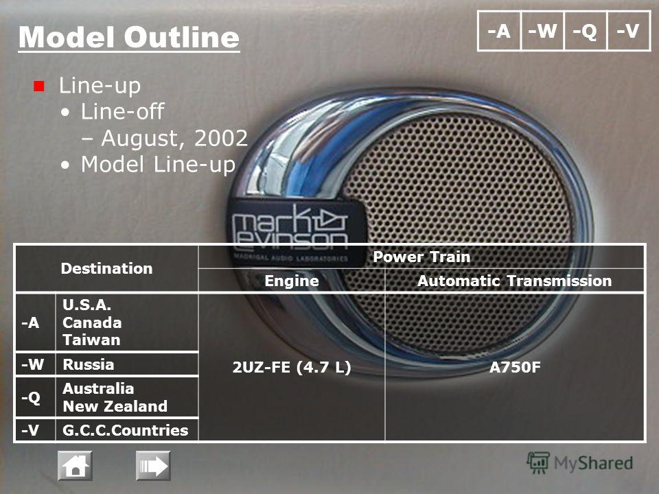 Model Outline Line-up Line-off –August, 2002 Model Line-up Destination Power Train EngineAutomatic Transmission -A U.S.A. Canada Taiwan 2UZ-FE (4.7 L)A750F -WRussia -Q Australia New Zealand -VG.C.C.Countries -A-W-Q-V