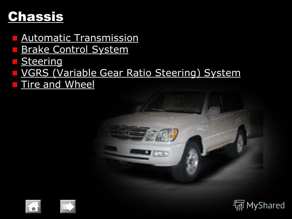 Chassis Automatic Transmission Brake Control System Steering VGRS (Variable Gear Ratio Steering) System Tire and Wheel