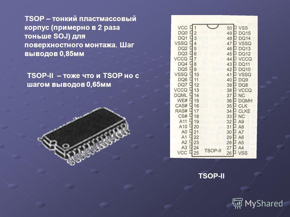 TSOP – тонкий пластмассовый корпус (примерно в 2 раза тоньше SOJ) для поверхностного монтажа. Шаг выводов 0,85 мм TSOP-II – тоже что и TSOP но с шагом выводов 0,65 мм TSOP-II