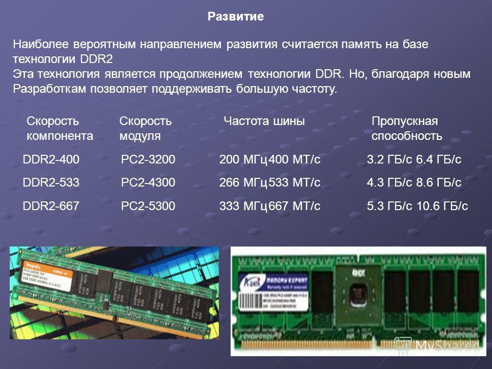 Наиболее вероятным направлением развития считается память на базе технологии DDR2 Эта технология является продолжением технологии DDR. Но, благодаря новым Разработкам позволяет поддерживать большую частоту. Развитие DDR2-400PC2-3200200 МГц 400 МТ/с 3