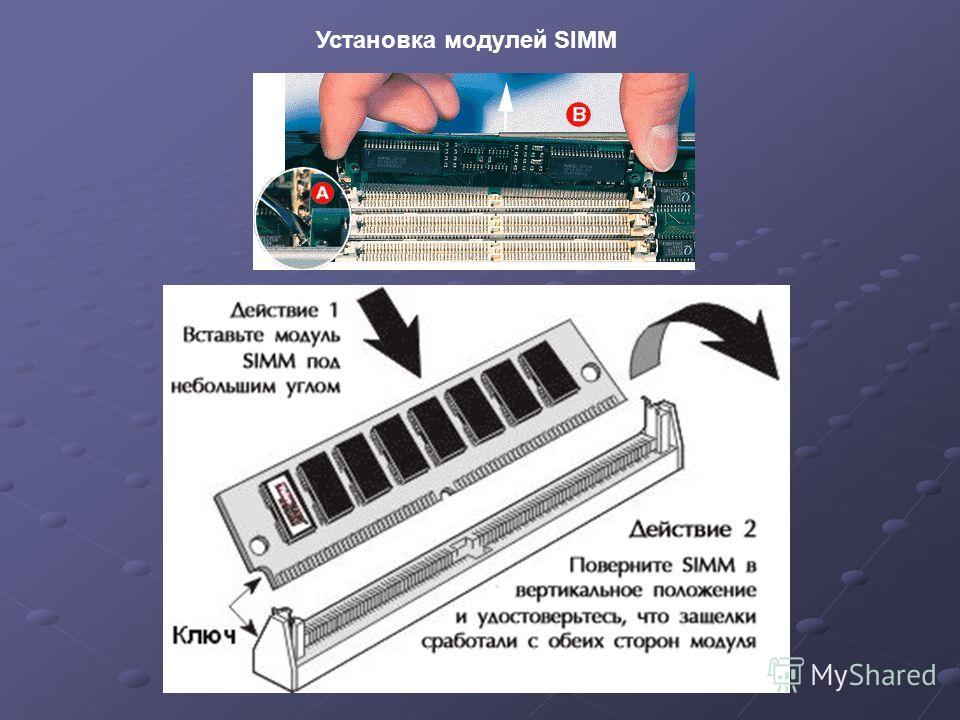Установка модулей SIMM
