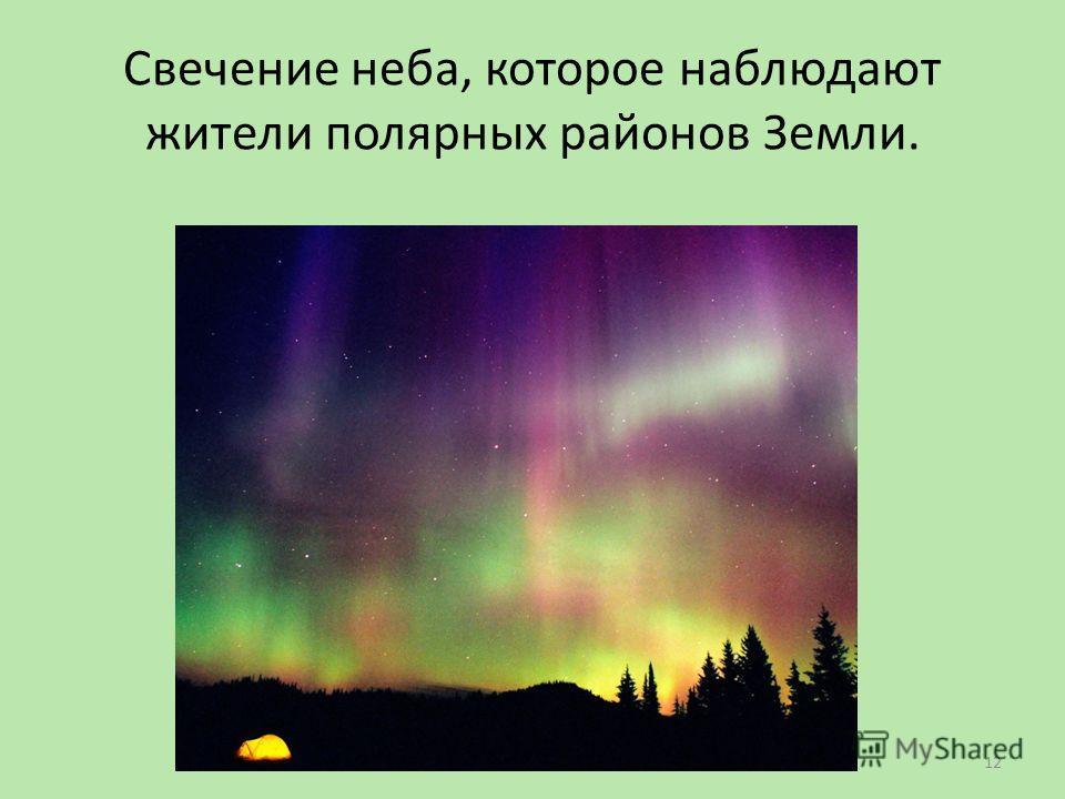 Свечение неба, которое наблюдают жители полярных районов Земли. 12