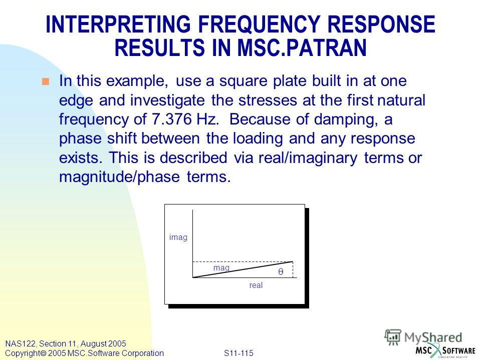 S11-115 NAS122, Section 11, August 2005 Copyright 2005 MSC.Software Corporation INTERPRETING FREQUENCY RESPONSE RESULTS IN MSC.PATRAN n In this example, use a square plate built in at one edge and investigate the stresses at the first natural frequen