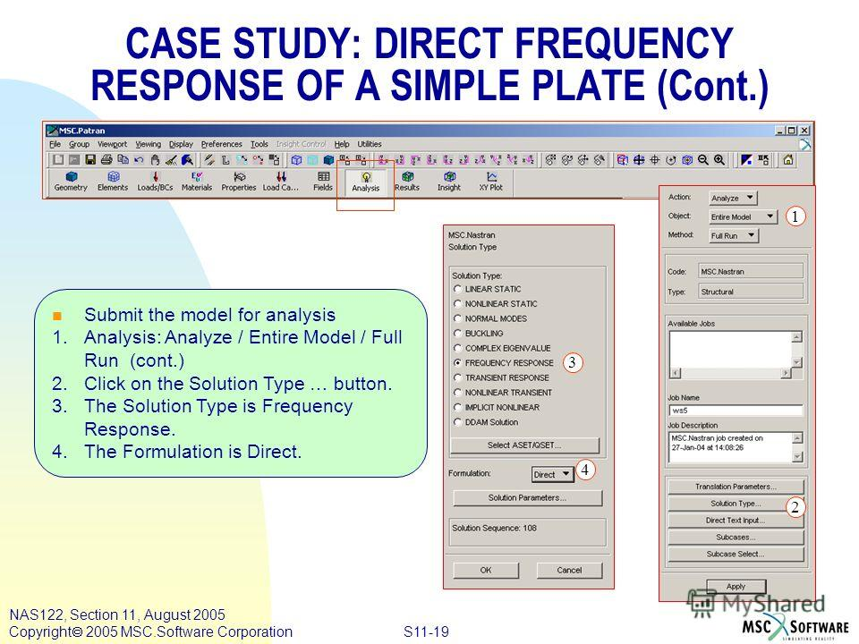 S11-19 NAS122, Section 11, August 2005 Copyright 2005 MSC.Software Corporation n Submit the model for analysis 1.Analysis: Analyze / Entire Model / Full Run (cont.) 2. Click on the Solution Type … button. 3. The Solution Type is Frequency Response. 4