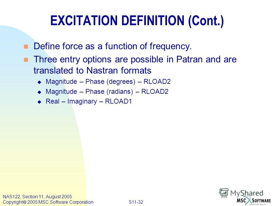 S11-32 NAS122, Section 11, August 2005 Copyright 2005 MSC.Software Corporation EXCITATION DEFINITION (Cont.) n Define force as a function of frequency. n Three entry options are possible in Patran and are translated to Nastran formats u Magnitude – P