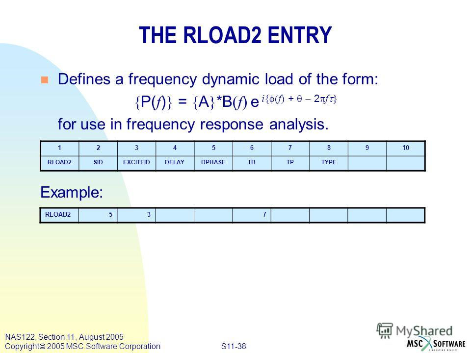 S11-38 NAS122, Section 11, August 2005 Copyright 2005 MSC.Software Corporation THE RLOAD2 ENTRY n Defines a frequency dynamic load of the form: { P( f ) } = { A } *B (f) e i{ f + 2 f } for use in frequency response analysis. Example: 12345678910 RLOA