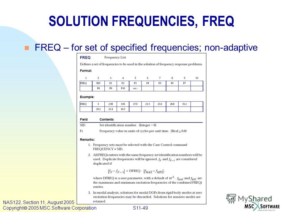 S11-49 NAS122, Section 11, August 2005 Copyright 2005 MSC.Software Corporation SOLUTION FREQUENCIES, FREQ n FREQ – for set of specified frequencies; non-adaptive
