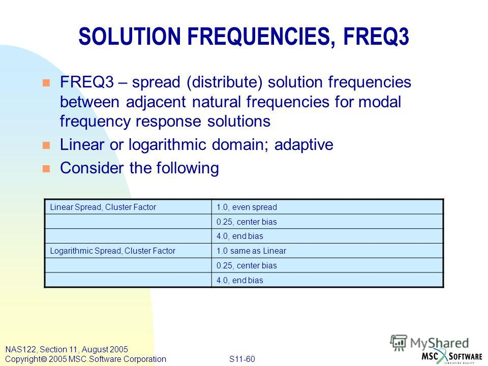 S11-60 NAS122, Section 11, August 2005 Copyright 2005 MSC.Software Corporation SOLUTION FREQUENCIES, FREQ3 n FREQ3 – spread (distribute) solution frequencies between adjacent natural frequencies for modal frequency response solutions n Linear or loga