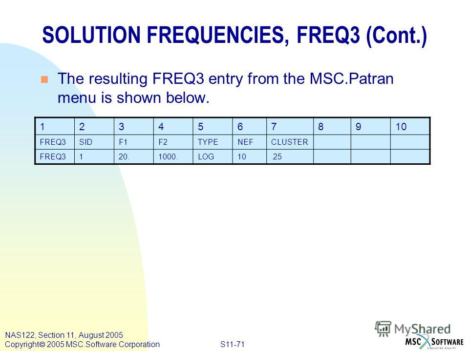 S11-71 NAS122, Section 11, August 2005 Copyright 2005 MSC.Software Corporation SOLUTION FREQUENCIES, FREQ3 (Cont.) n The resulting FREQ3 entry from the MSC.Patran menu is shown below. 12345678910 FREQ3SIDF1F2TYPENEFCLUSTER FREQ3120.1000.LOG10.25