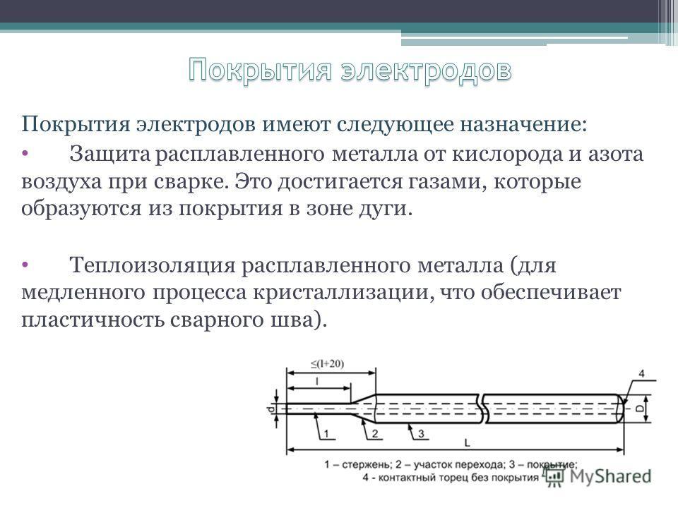 Покрытия электродов имеют следующее назначение: Защита расплавленного металла от кислорода и азота воздуха при сварке. Это достигается газами, которые образуются из покрытия в зоне дуги. Теплоизоляция расплавленного металла (для медленного процесса к