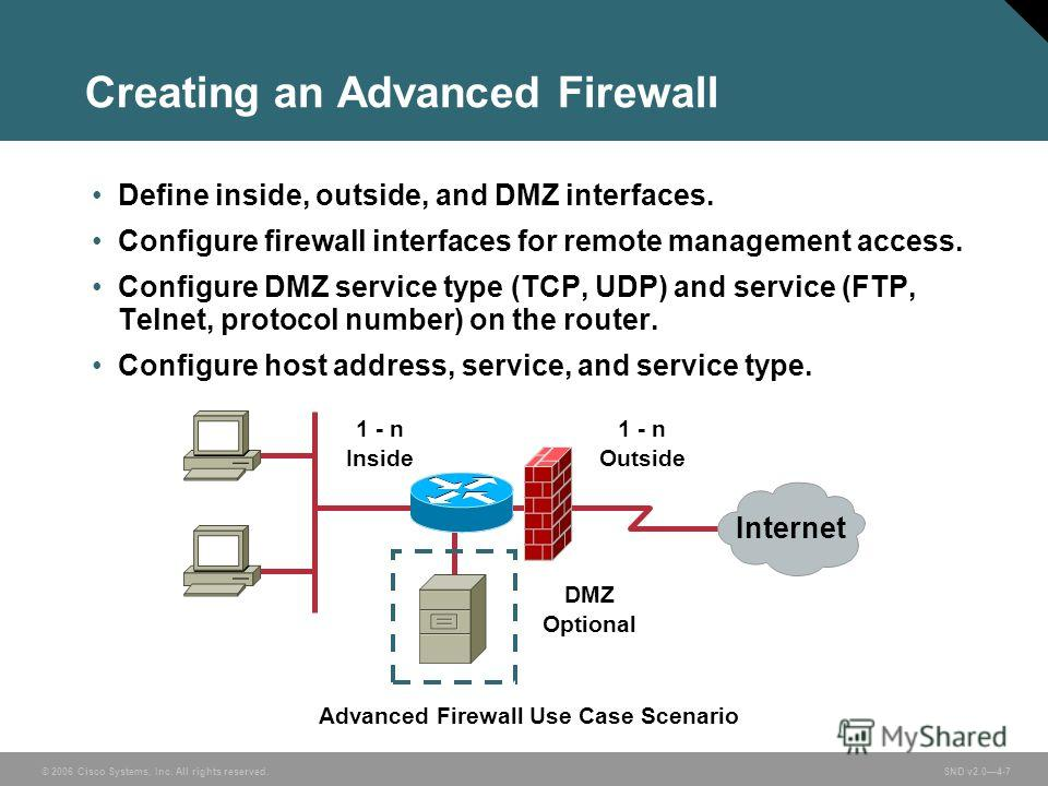 © 2006 Cisco Systems, Inc. All rights reserved. SND v2.04-7 Creating an Advanced Firewall Advanced Firewall Use Case Scenario 1 - n Outside 1 - n Inside Internet DMZ Optional Define inside, outside, and DMZ interfaces. Configure firewall interfaces f