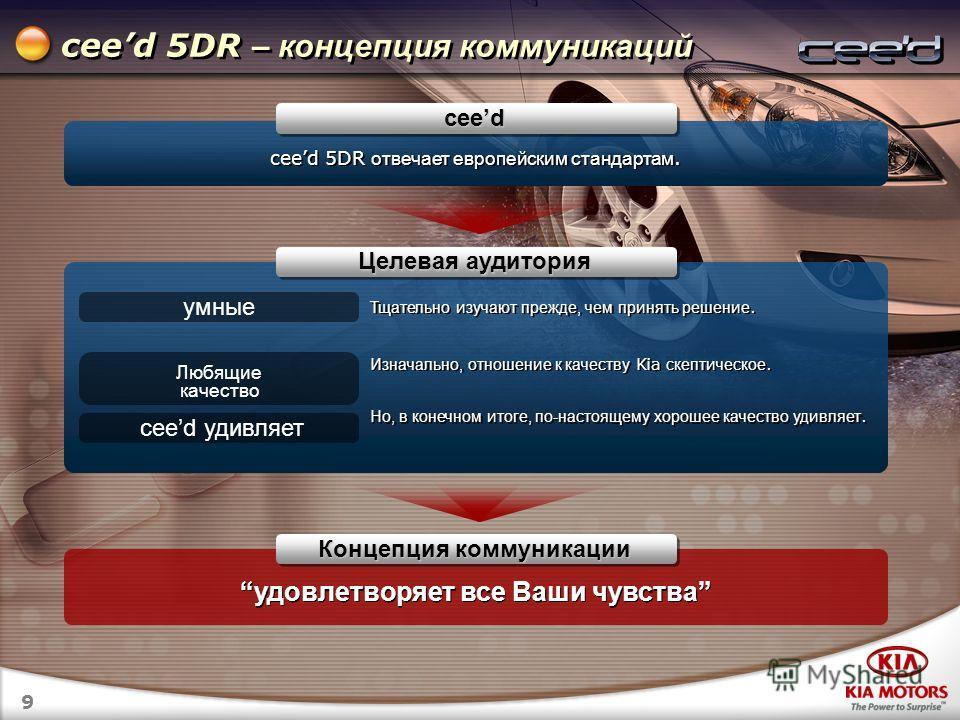 9 ceed 5DR – концепция коммуникаций ceed 5DR отвечает европейским стандартам. ceed Концепция коммуникации удовлетворяет все Ваши чувства умные Тщательно изучают прежде, чем принять решение. Изначально, отношение к качеству Kia скептическое. Но, в кон
