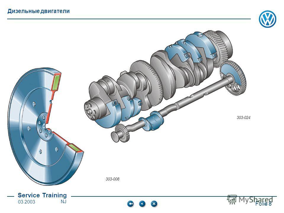 Service Training Folie 8 Дизельные двигатели 03.2003NJ 303-024 303-008